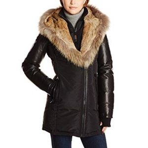 Rudsak Leather Sleeve Fur Trim Down Parka Jacket